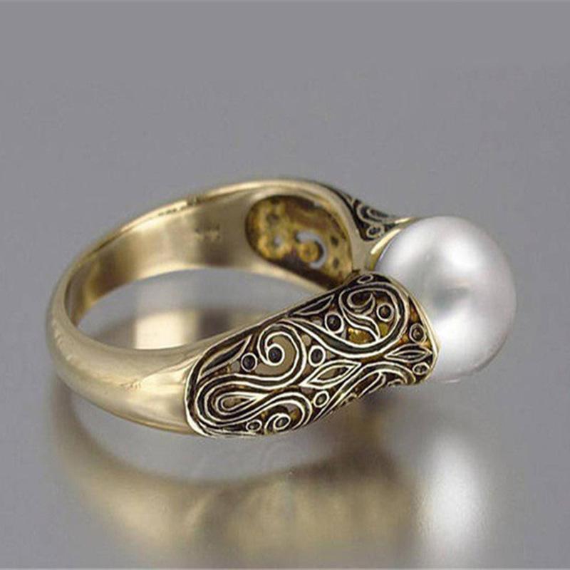 Золотой цвет панк Vintage Flower Big Сымитированный Pearl Ring девушку ювелирных изделий