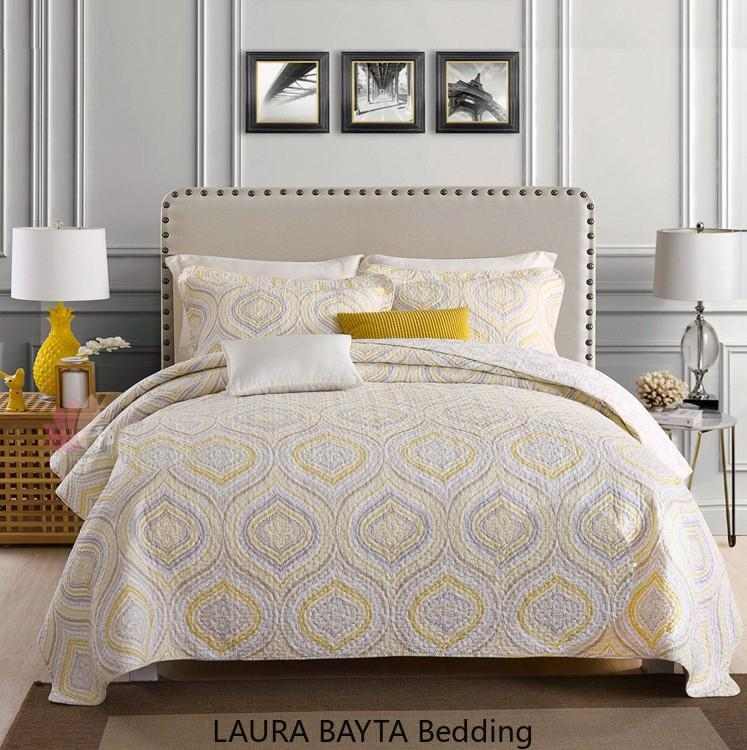 Giallo ricamo Geometirc Quilts copriletto letto di cotone KingSize Europa Americano copriletto trapuntato Lenzuola Coperte materasso Topper