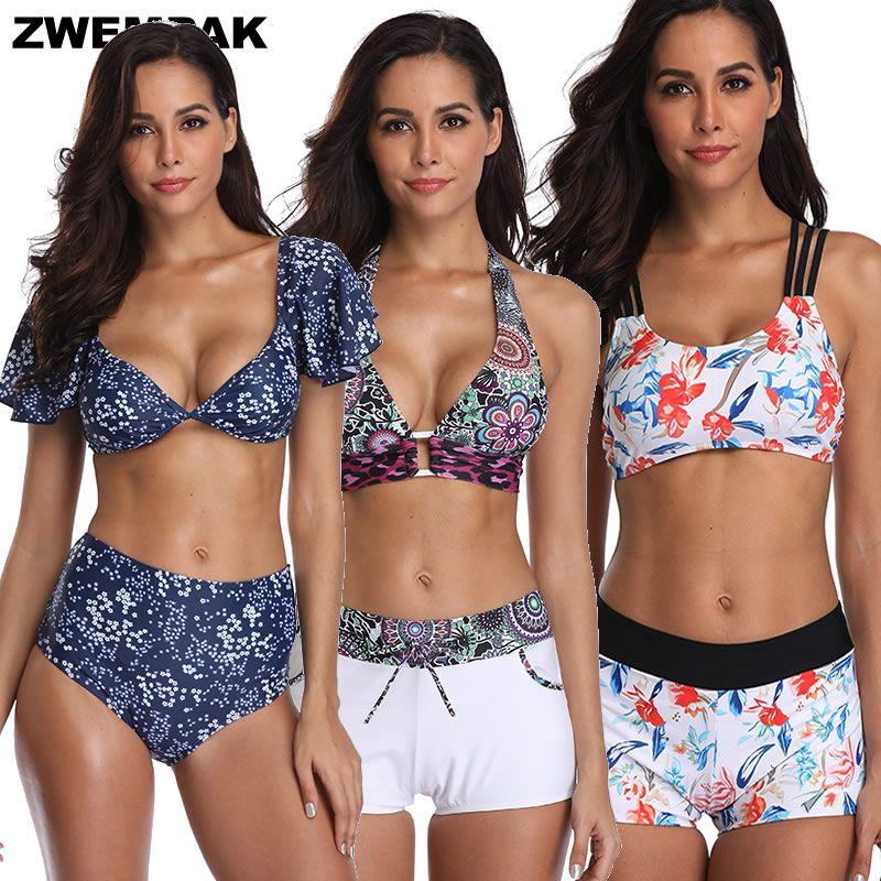 Retro Kısa Kollu Bayan Bikini Seti Vintage Yüksek Waisted 2019 Mayo Sütyen Destekli Sportif Swim Wear Yıkanma Suits Femme biquini
