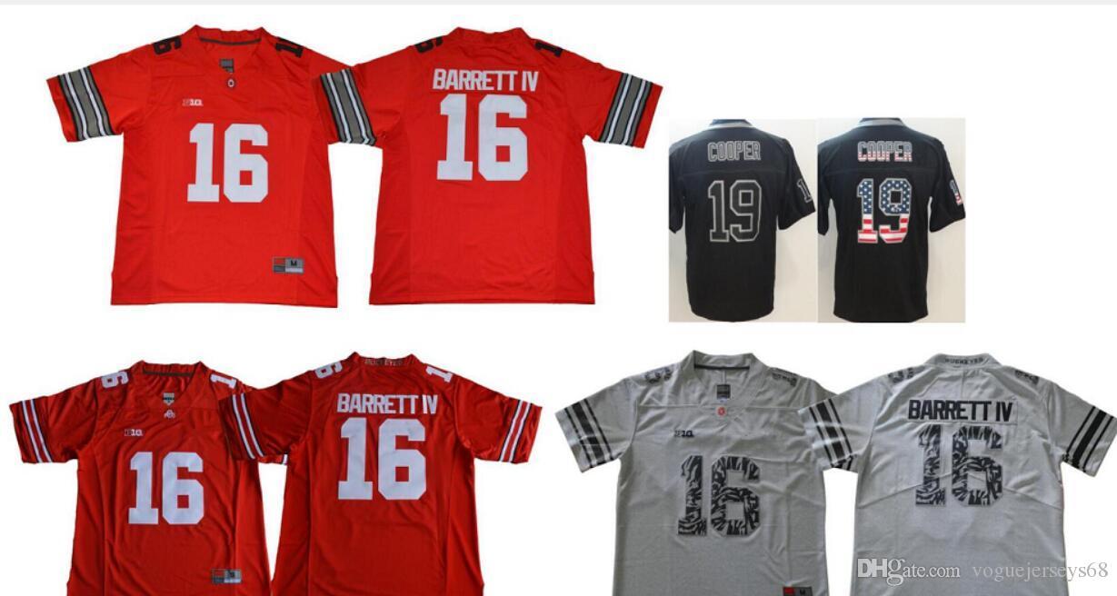 brand new 2b847 24c1c 2019 Mens Ohio State Buckeyes #16 J. T. Barrett Dallas 19 Amari Cooper  Color Rush Usa Flag Stitched Embroidery American Football Pro Team Jerseys  From ...