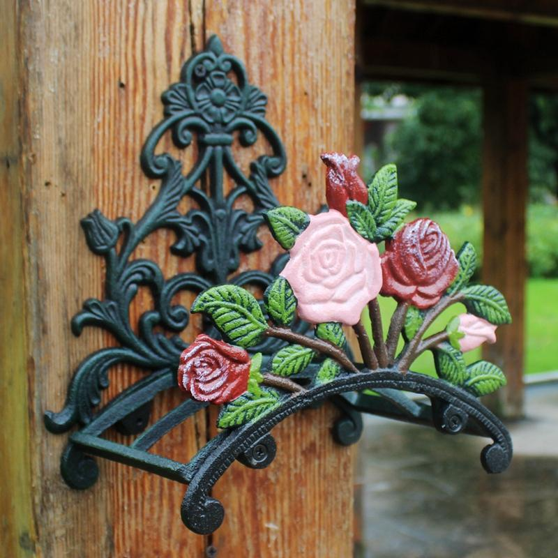 Cast Iron Hose Holder Rose Flower Decorative Hose Reel Hanger Antique Garden Hose Stand Wall Mounted Lawn Garden Equipment Home Retro Decor