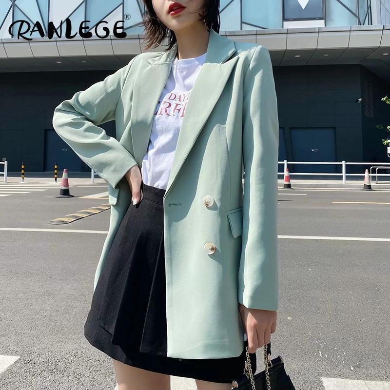 RANLEGE Повседневный Двойной Брестед Офис Wear Blazer Женщины Зубчатый шеи длинным рукавом пальто Верхняя одежда Карманы Твердая куртка Lady