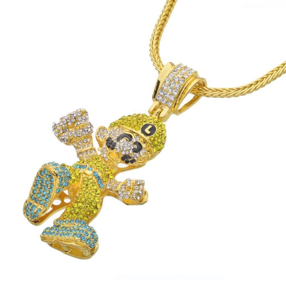 Hip Hop ожерелье Большого размера мультфильм игра ожерелье Bling Bling Iced Out цепь ювелирные изделия N657
