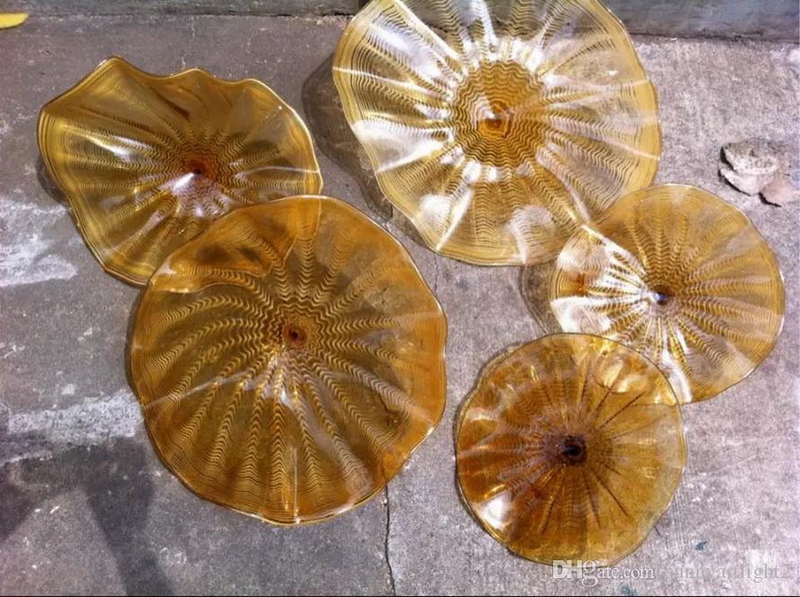 Piatti in vetro borosilicato soffiato a bocca al 100% per appendere a parete Dale Chihuly Craft Piatti decorativi in vetro di Murano di migliore qualità