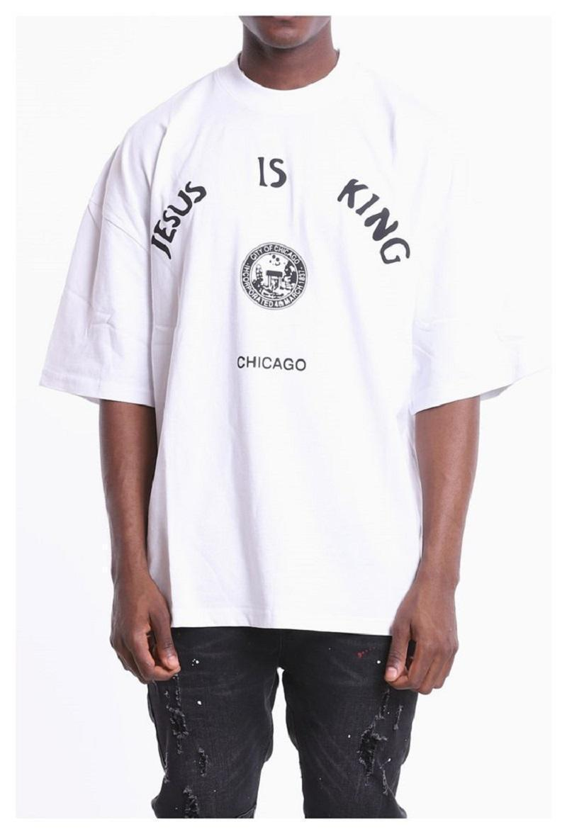 2020 Ins Hot Spring Summer American Jesus is King Chicago Limited Tee Skateboard Mens designer t shirt Women Street Casual Tshirt