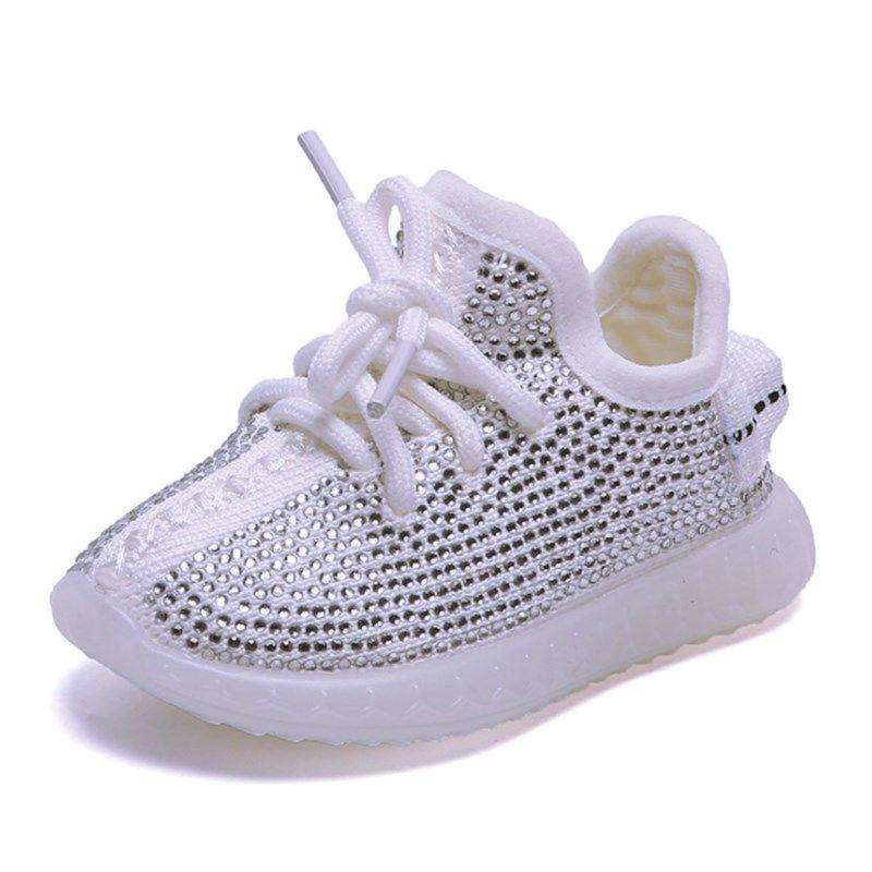 2020 Primavera / Otoño de la chica del bebé del niño de las zapatillas de deporte zapatos infantiles del Rhinestone de coco zapatos suaves Kid cómodo