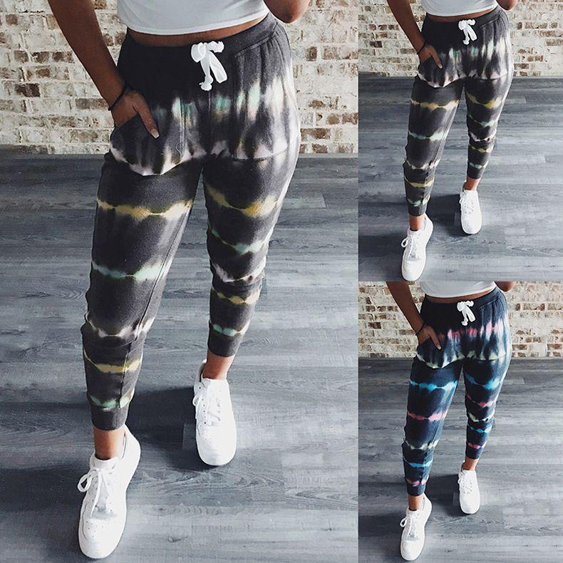 Sommer-Frauen Designer Casaul Hosen lose Striped Printed mittlere Taille Gerade der Sport-Art Damen Kleidung Hosen