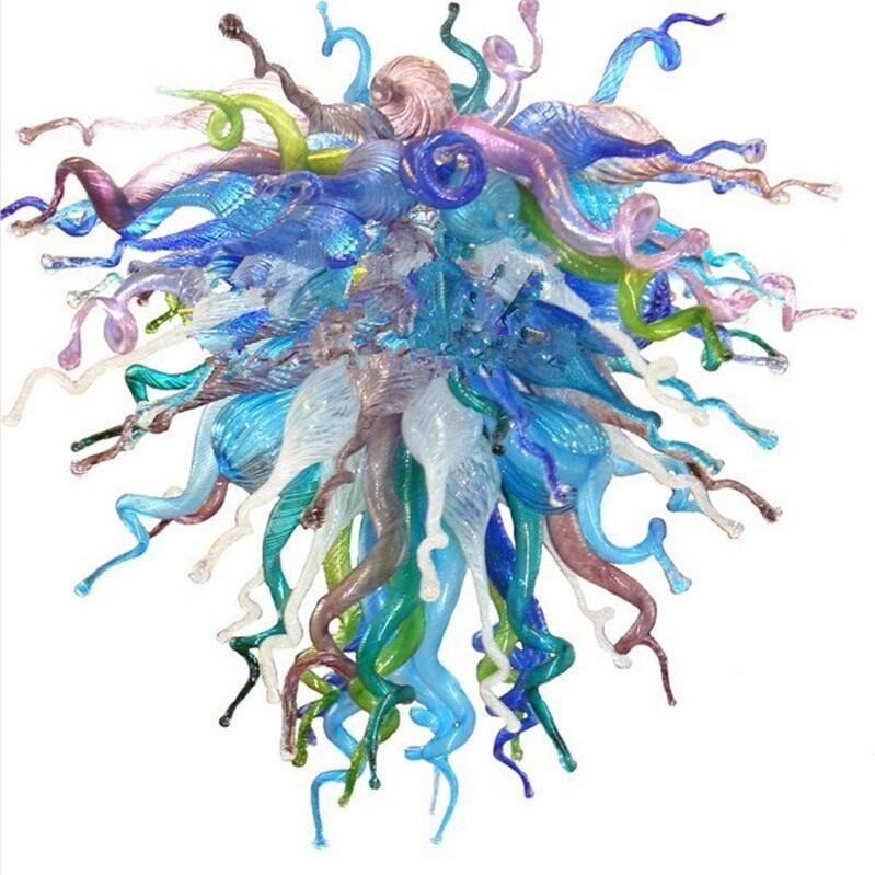 في مهب المصنع مباشرة بيع الزجاج فن الديكور قلادة ضوء غرفة المعيشة فندق رومانسي مصباح اليد زجاج مورانو ثريا كريستال