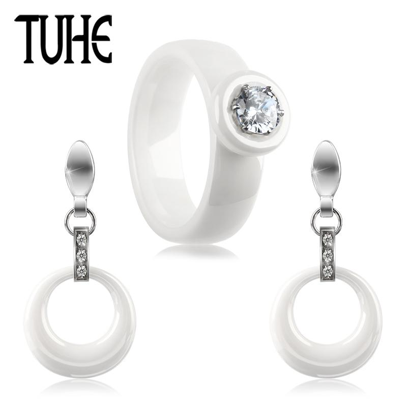 wholesale New Women Ceramic Set Round Crystal Finger Ring And Hollow Circle Drop Earrings For Lady Fashion Wedding Jewelry Best Gifts