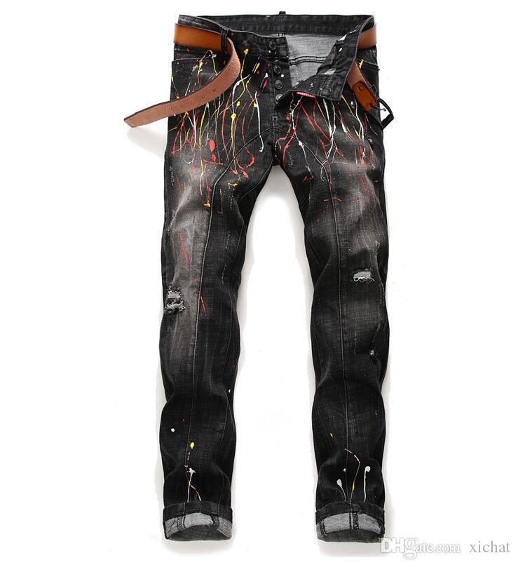 Unique Mens Slim Fit Painted Retro Black Jeans Mode lambrissé Washed Motocycle Denim Pantalons Hip HOP Begar Pantalons 1023