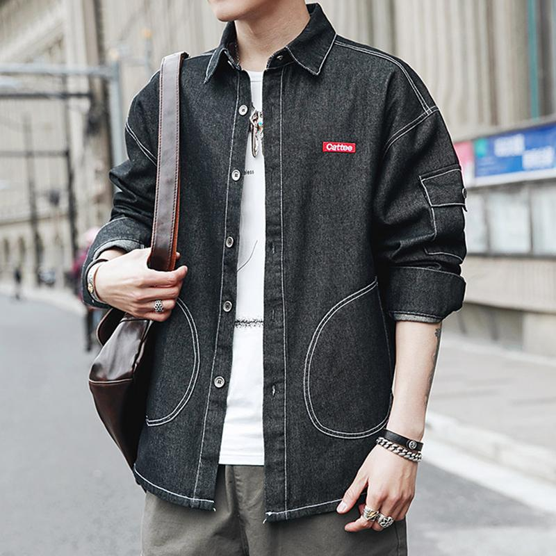 2019 New Pattern Fashion Work Clothes Long Sleeve Cowboy Shirt Male Han Chao Leisure Joker Loose Coat streetwear Free shipping