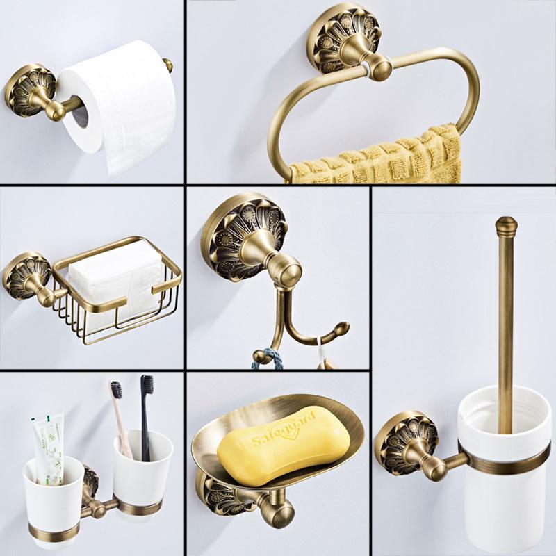 Cuarto de baño antiguo Set de accesorios de bronce higiénico rollo de papel sostenedor del jabón de baño del plato de ducha gancho para batas titular WC cepillo Toalla Anillo