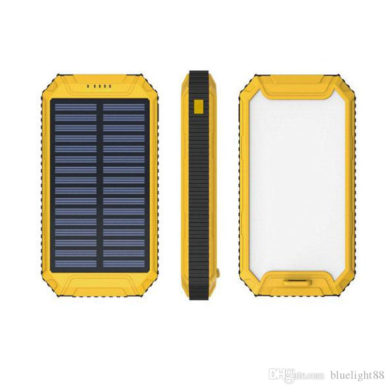 Wholesale -20000mAh Solar Power Bank Charger External Backup Battery With Retail Box For iPhone iPad Samsung Mobile Phone Free shipping