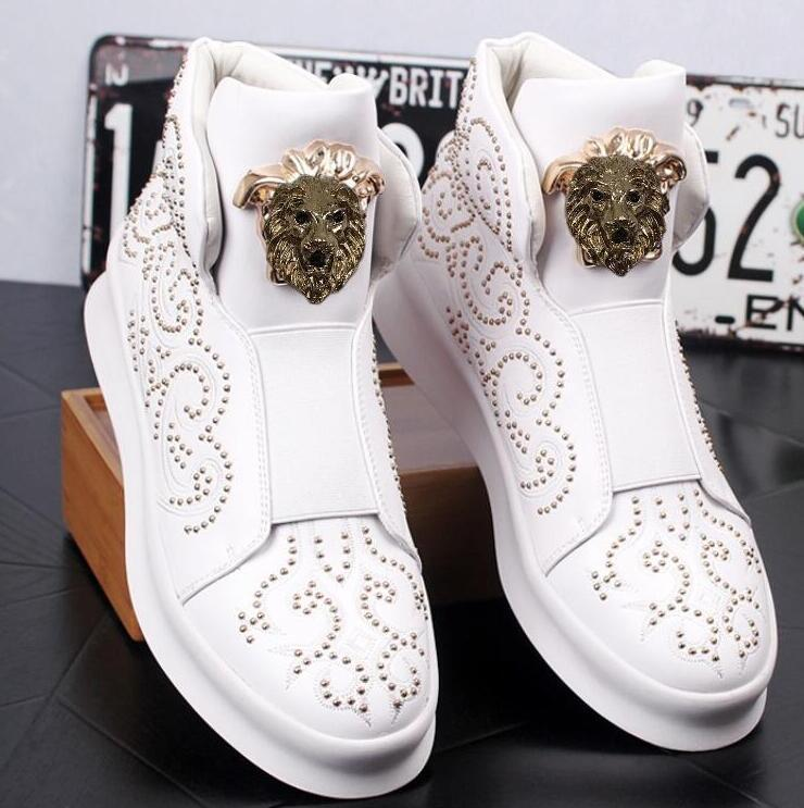 Yüksek kaliteli erkek yüksek top küçük beyaz ayakkabı, kalın ve düşük perçin rahat ayakkabılar, loafer'lar erkek üst ayak bileği çizmeler, erkek rahat shoes44 W26