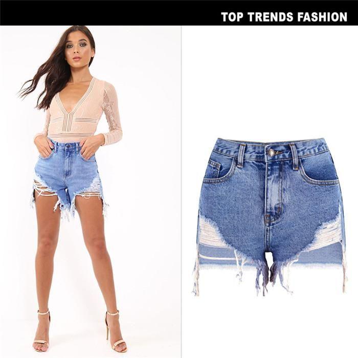 Irrégulière Trou Street Style Jeans Shorts Bouton mode Zipper taille haute Pantalon court Sexy Femme Vêtements