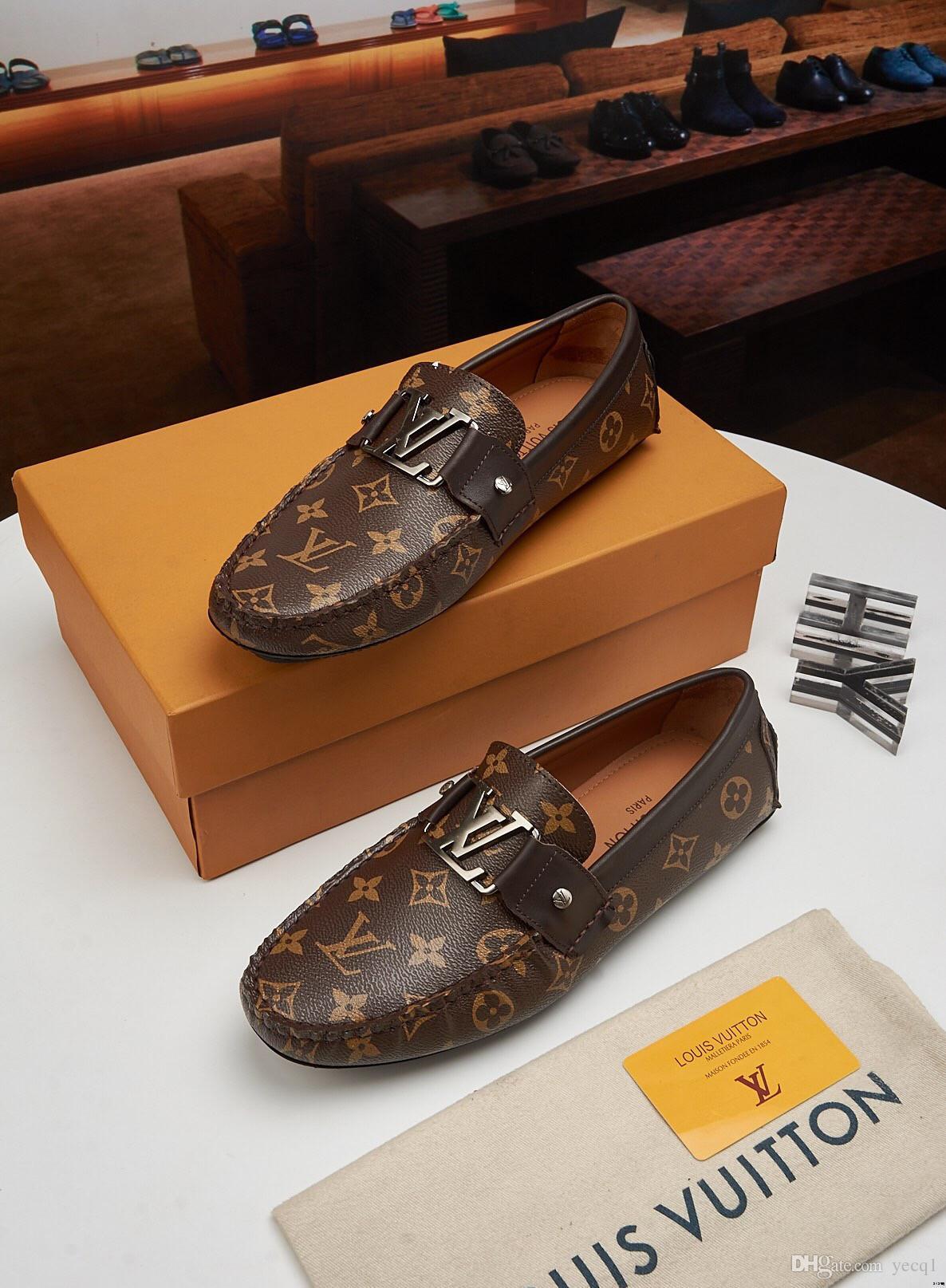 18ss 2019 Nouvelles Marques Hommes Chaussures Fabriqué À La Main Respirant Doux Hommes Appartements Chaussures Slip-on Boucle Hommes Mocassins Marron Grande Taille