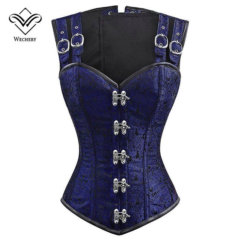 Venda Por Atacado 12 espartilho de osso de aço vintage steampunk overbust shaper tops para as mulheres plus size qualidade azul sexy emagrecimento traje