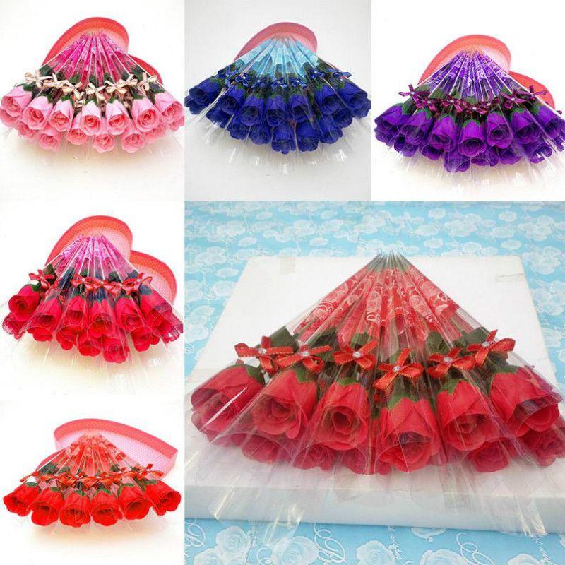 wholesale-- Une seule rose des fleurs de simulation Savon créatif pratique jour de valentine roses savon cadeau DA510