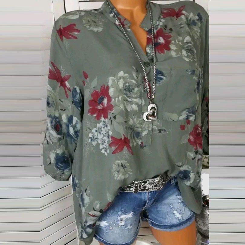 2019 camisas de Nova blusa mulheres Primavera-Verão túnica azul com decote em V camisa de manga longa Feminino shirt impressão Mulheres Blusas Plus Size Tops