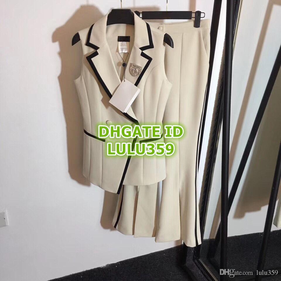 Women's Rhinestone Two Piece Pants Diamond Brooch Contrast Color Lap Vest + High Waist Split Horn Pants Suit S-M-L-XL 19