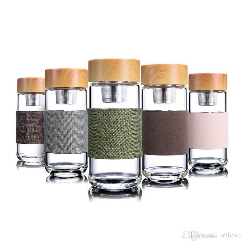 زجاجات زجاج 350ml المياه مقاومة للحرارة مكتب جولة كأس السيارة مع الفولاذ المقاوم للصدأ الشاي المساعد على التحلل مصفاة البهلوانات XD22617