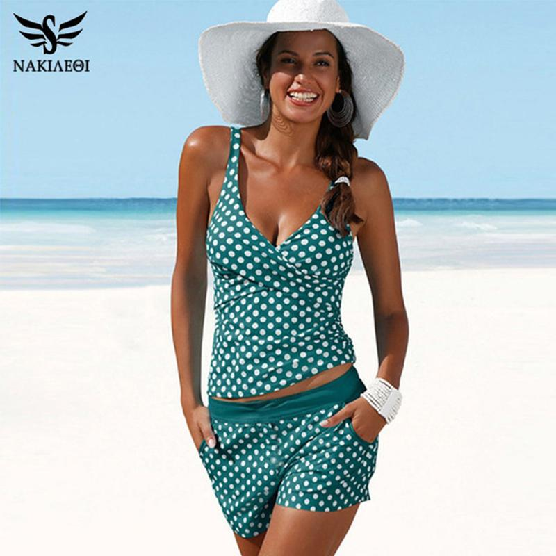 Nakiaeoi New Plus Size Swimwear Women Swimsuit Two Pieces Tankini Padded Bathing Suit Polka Dot High Waist Bikini Set Beachwear Y19072401