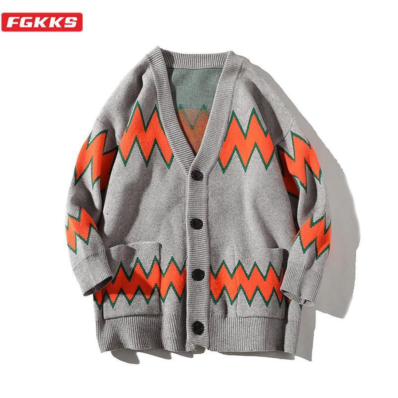 FGKKS Moda Marka Erkek Hırka Triko Erkekler Baskı Yün Blend Kazak Sonbahar Kış Yeni Casual Trend Vahşi Kazak Erkek