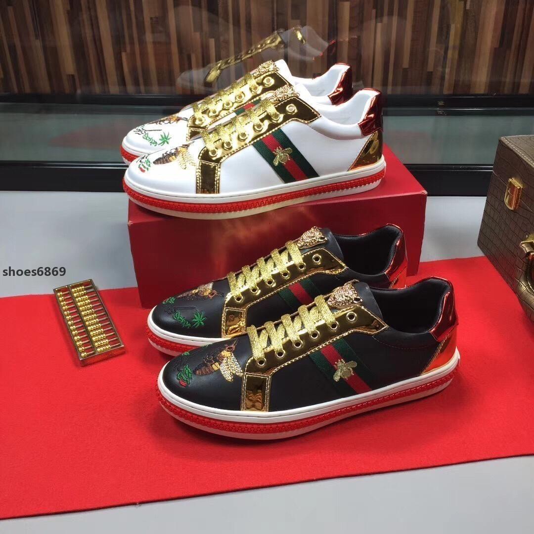 2020 New Little Bee Mode Inertia Fest Grau Männer s westliche beiläufige Schuh-Turnschuh Gold-Luxus-Turnschuhe Retro flacher Schuh