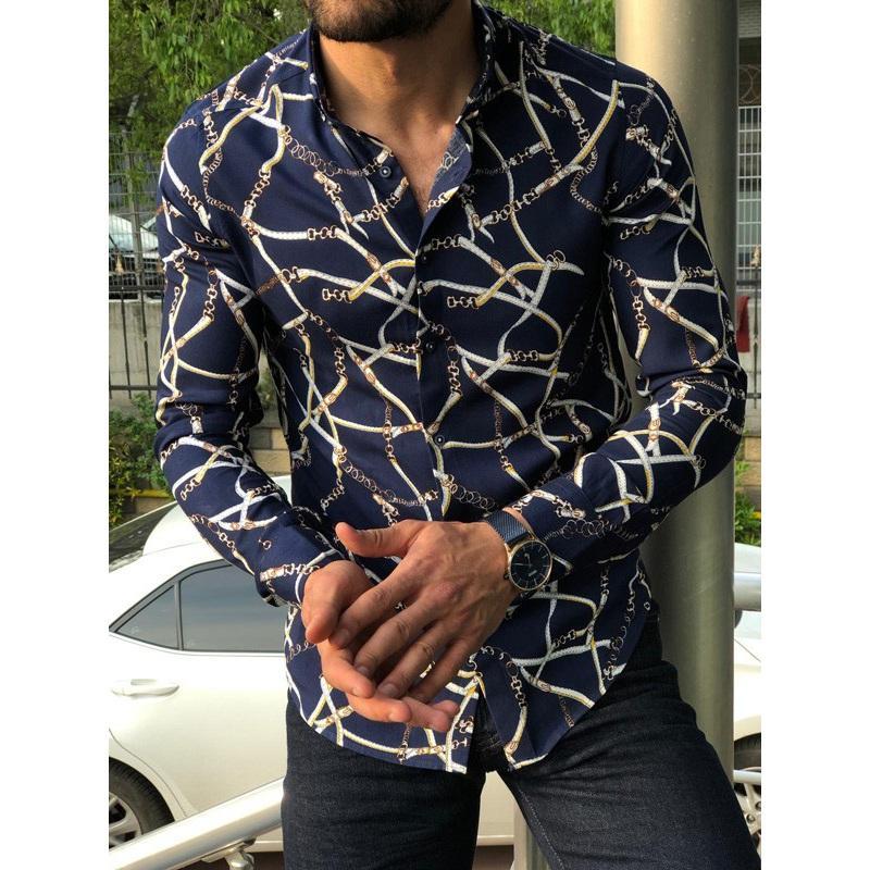 модные мужские рубашки 2019 осень новый цифровой печатных хип-хоп мужчины повседневные рубашки slim fit винтаж рубашка