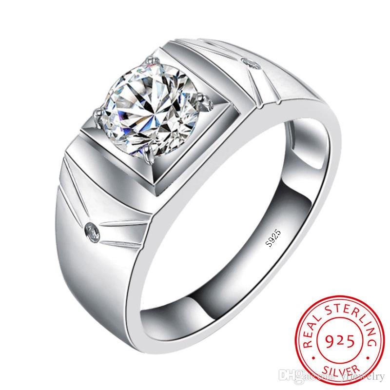 Original Real Solid 925 Sterling Silver Rings for Men Wedding Engagement Ring Fashion Zircon CZ Jewelry Gift Ring Wholesale M001