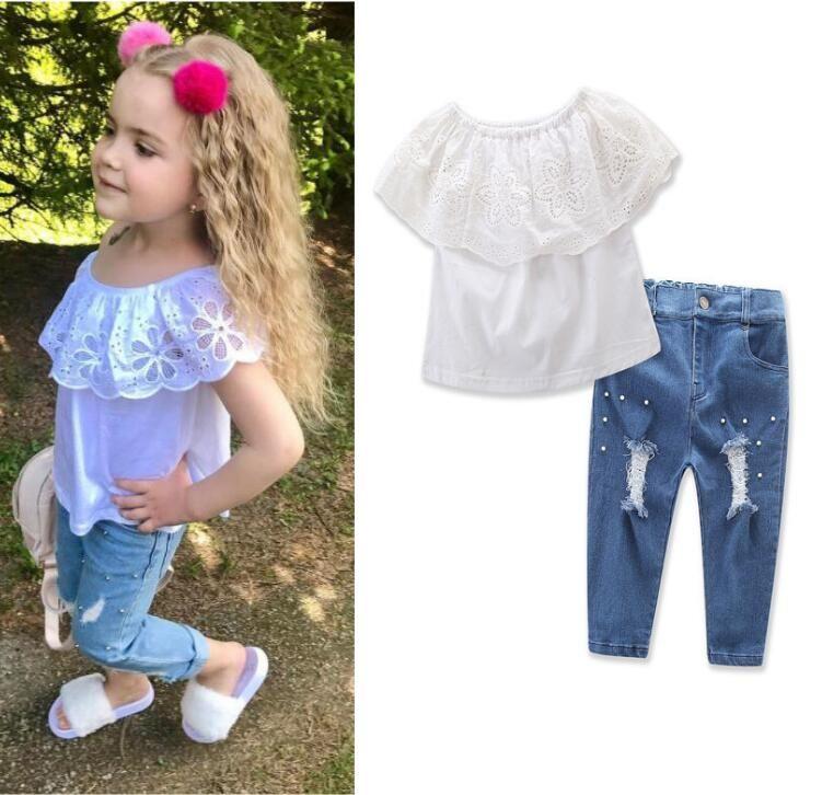 T-shirt estiva in pizzo a due pezzi per bambini modelli estivi spalla spalla t-shirt + pantaloni da foro tuta bambini top pant