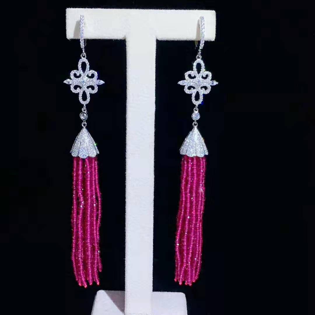 vendita calda europea americane pietra rossa faccia micro intarsi accessori zircone orecchini gioielli naturali della moda