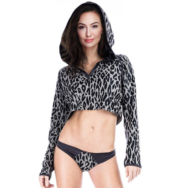 Hoodies Sweatshirt Sexy Leopard Print Navel Loose Long Sleeve Hoodies