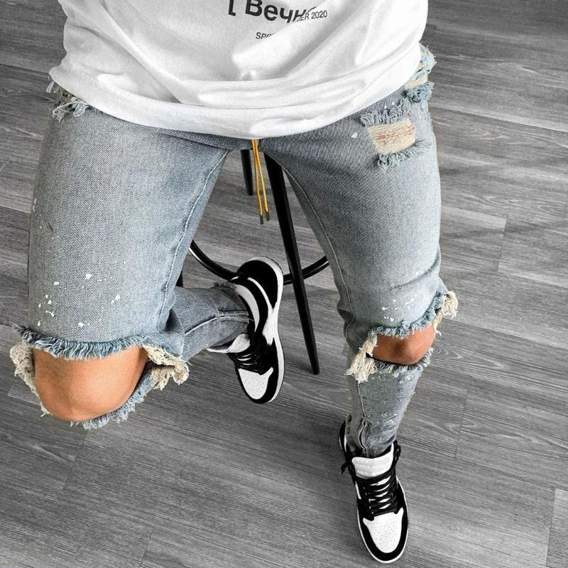 Мужские джинсы разорванные хип-хоп Мужчины Проблемные карандаш Брюки Slim Fit Джинсовые брюки повседневные Pantalon Hombre Skinny с веревкой