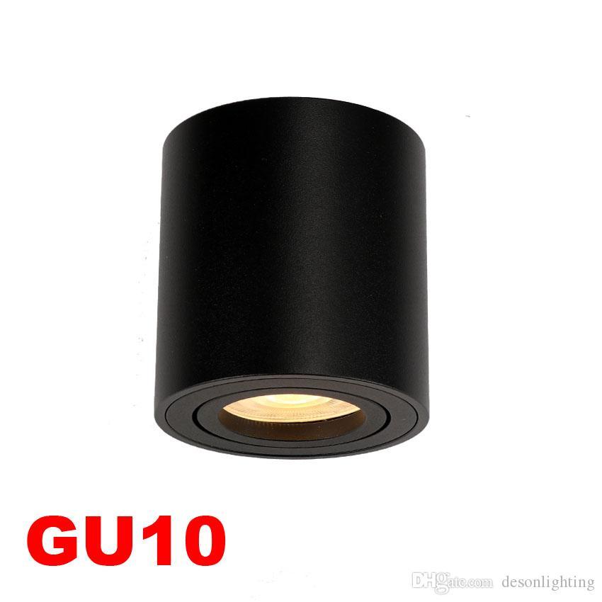 Ayarlanabilir LED Yuvarlak Yüzeye Monte Trimless Downlight GU10 Fikstürü Silindir Tavan Aşağı Spot Işık Yatak Odası Lamba GU 10 Spot Uydurma