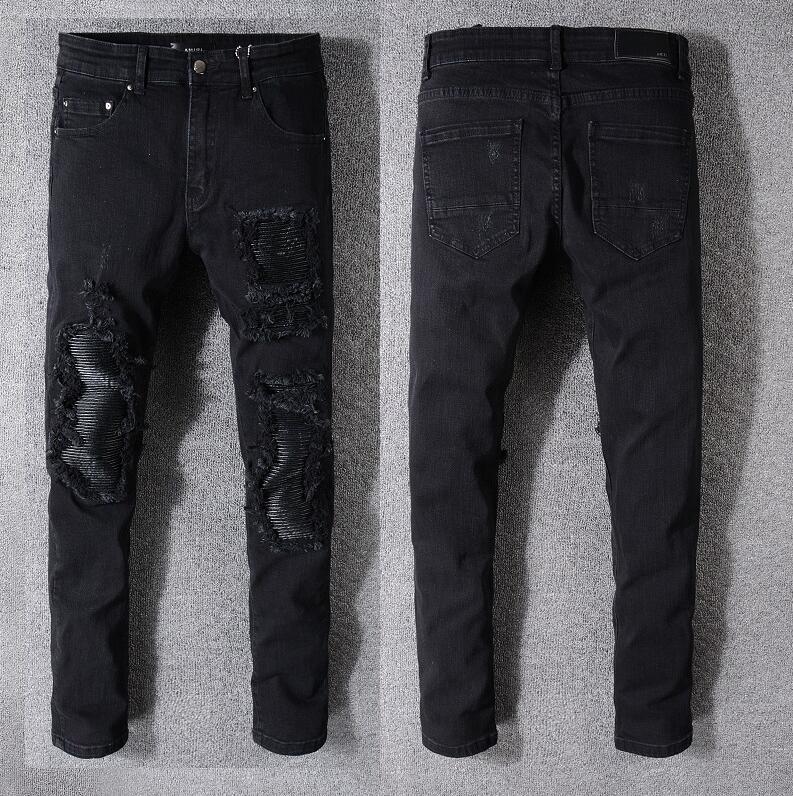 2020Top manera de la venta del diseño de marca hombres del verano dril de algodón flaco Jean motorista del bordado pantalones vaqueros agujeros de botón de los pantalones largos para hombre A016