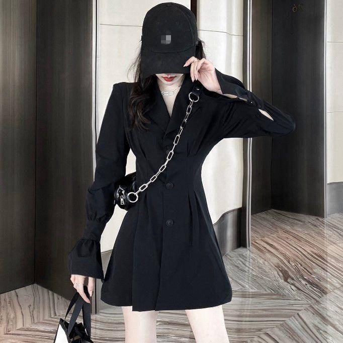Nouvelle robe à manches longues noir tempérament lâche taille petite jupe costume Un mot vêtements pour femmes jupe