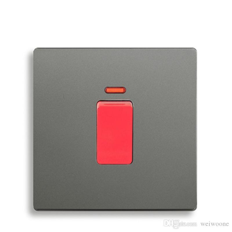Interrupteur mural standard avec interrupteur mural et interrupteur de climatisation, interrupteur pour chauffe-eau 45A, couleur gris