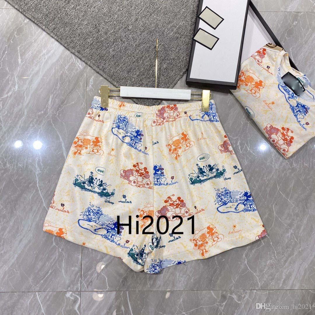 하이 엔드 여성 여자 캐주얼 스플 라이스 반바지 동물 편지 쓰기 인쇄 높은 허리 넓은 다리 짧은 바지 2020 패션 고급스러운 디자인 느슨한 움직임 바지