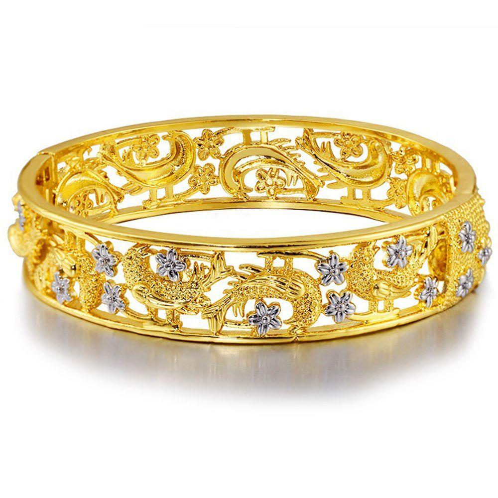 Vivid Uccelli design apribile braccialetto oro giallo 18k riempito Bella braccialetto delle donne Gioielli Solid lusso 60 millimetri regalo Dia