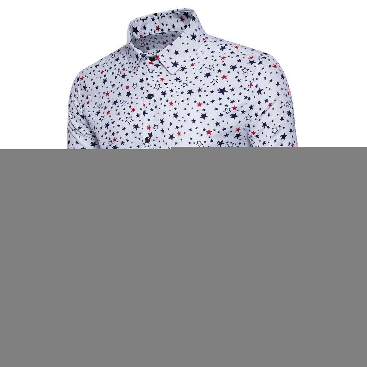 Новый 3D пятиконечные звезды печатных Мужские рубашки повседневная мужская с длинным рукавом рубашки Slim Fit Homme