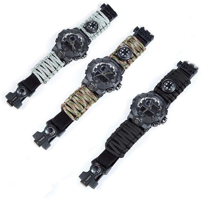 Outdoor Survival Paracord Watch Camping Multi-functional Survival Watch Compass Thermometer Rescue Rope Tactical Paracord Tools (8)