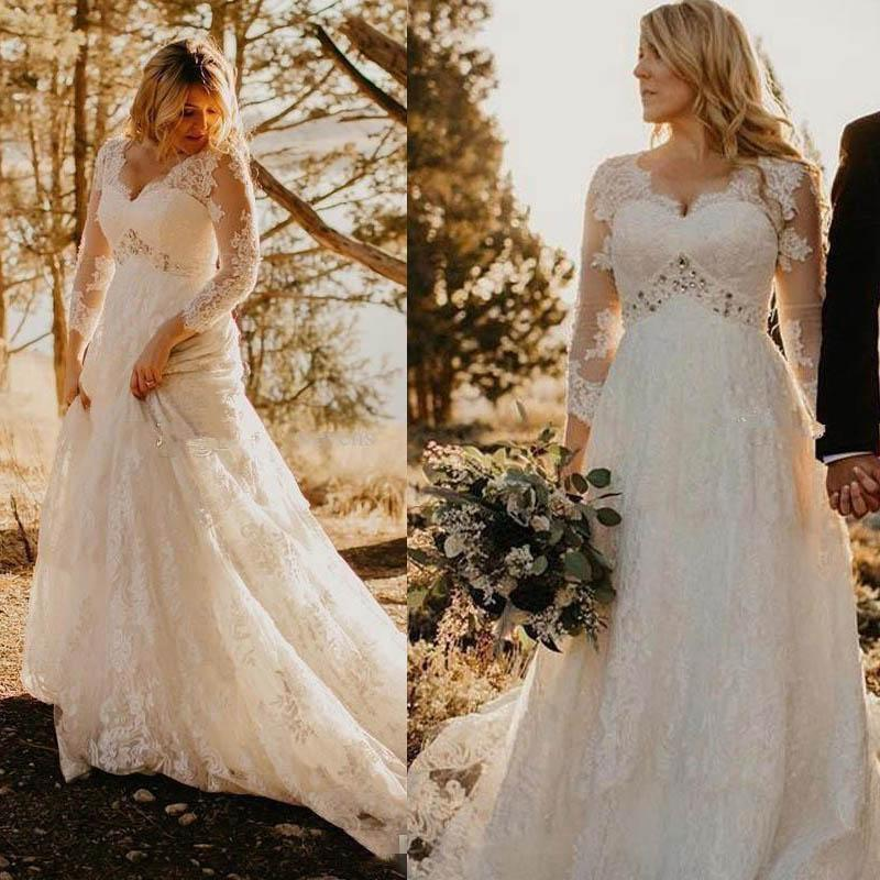 Abiti da sposa misura 3/4 maniche lunghe pizzo applique in rilievo di Tulle 2020 cappella su ordine del treno smerlato scollatura abiti da sposa