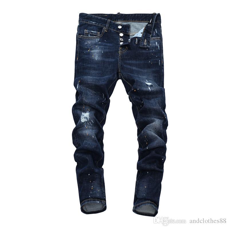 vaqueros para hombre pantalones vaqueros de diseño de lujo pantalones de mezclilla para hombre de la pierna streight casuales blanco arrancó pantalones vaqueros de diseño Hombres pantalón pantalones