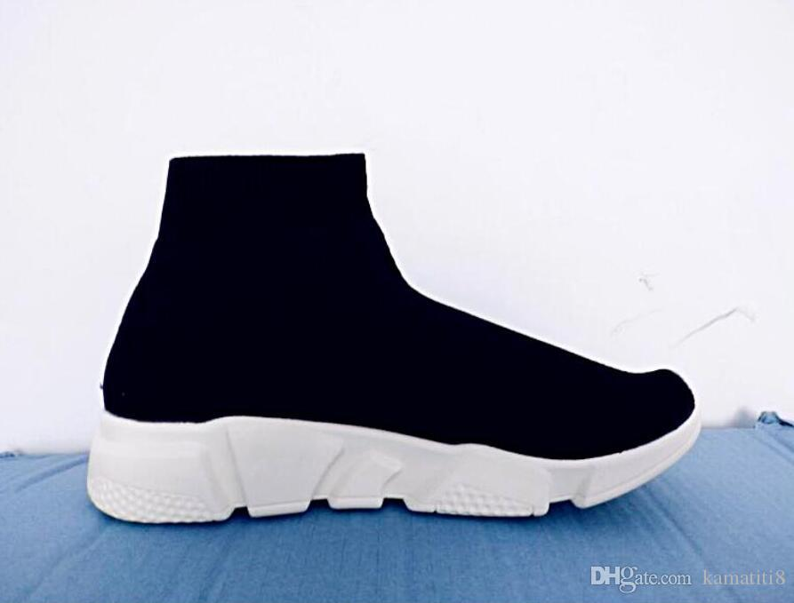Unisex Casual Shoes Flat Fashion Socks Boots Red Grey Triple Black White Stretch Mesh High Top Sneaker Speed Trainer Runner