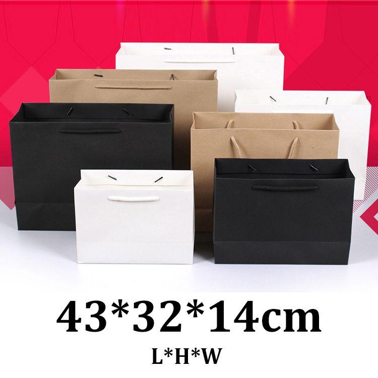 43x32x14cm horizontal black white cardboard brown kraft paper gift bags with rope handle