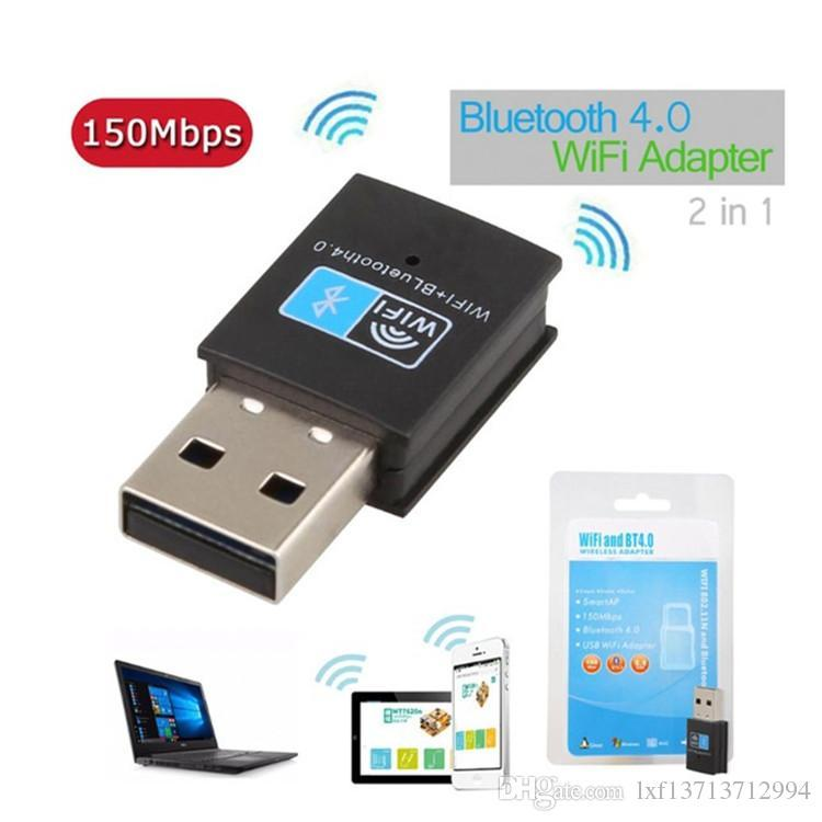 Mini Bluetooth 4.0 USB Adaptör 2.4G WIFI 150Mbps Kablosuz 802.11n / g / b Ağ Kartı Windows Linux Android Sistemleri ekle