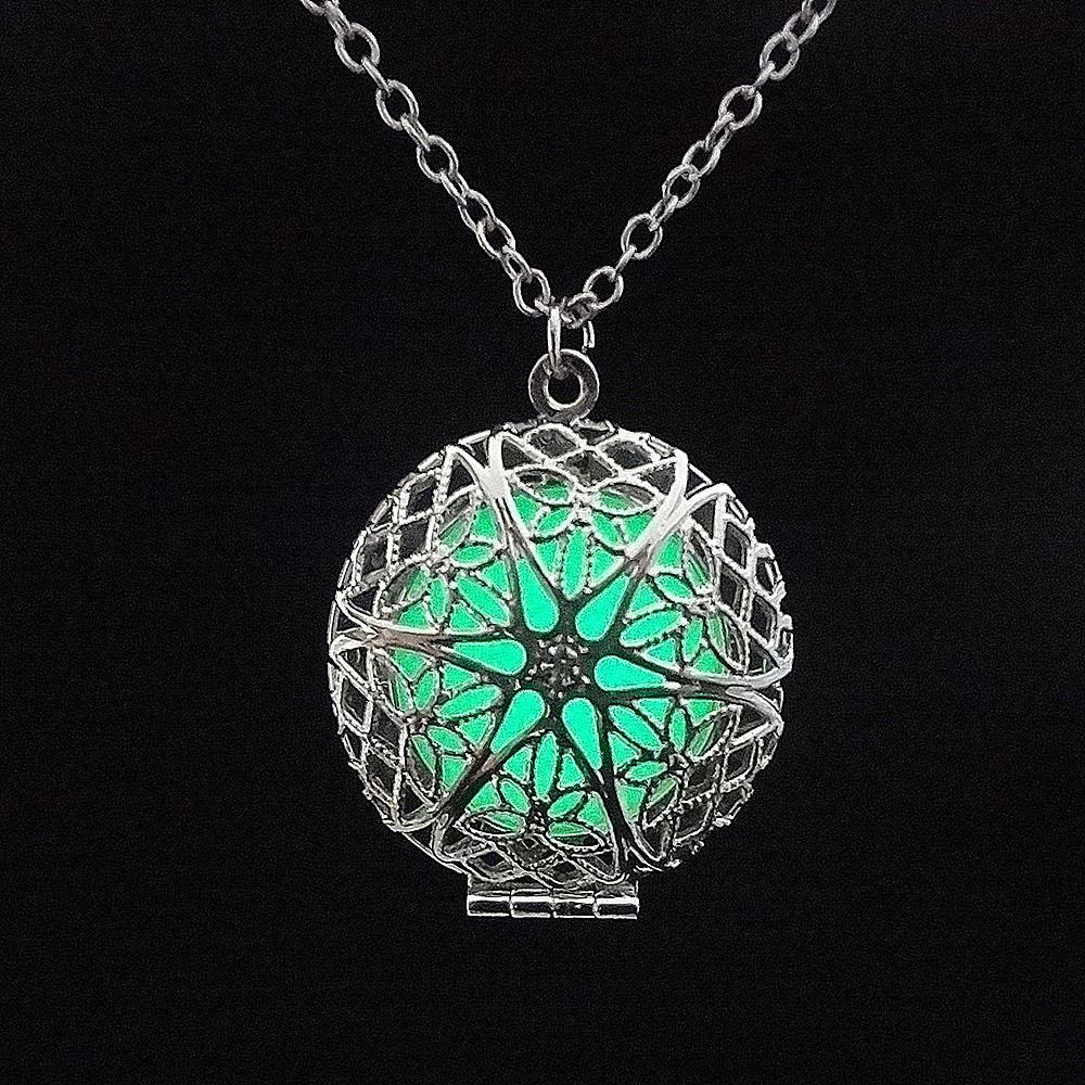 Glühenden in der Dark Hollow Halskette Silber überzogen Frauen Liebhaber Luminous Medaillon Käfig Halskette Schmuck Geschenke