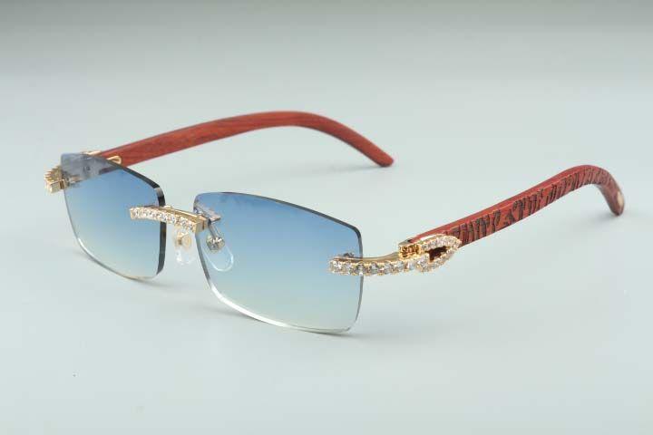 Más nuevos 3524012-12 Gafas de sol de diamantes grandes, gafas de madera de patrón de tigre, anteojos de la pieza cuadrada Moda para hombres y gafas de sol sin límites de las mujeres