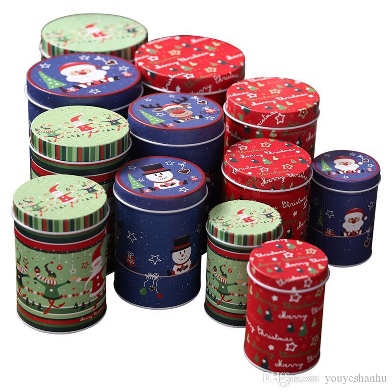 4 шт. / Компл. Новогодняя жесть санта клаус коробки для хранения конфет банок детская подарочная коробка баночка печенья новогодний подарок банки декоративные подставки